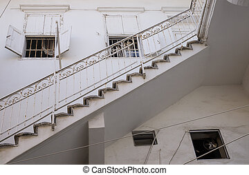 Traditional stair entrance of Lebanese white house in Tyre, Lebanon