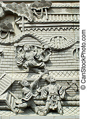 Traditional stone carving in taoism temple.