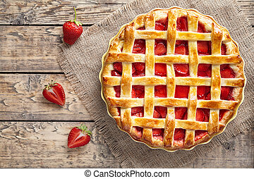 Traditional strawberry pie tart cake sweet baked pastry food