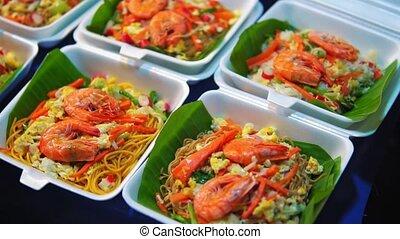 traditional street food asia, night food market.