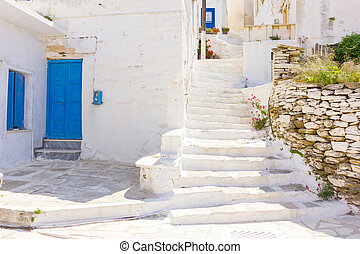 traditional street in Tinos Island, Greece