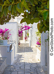 traditional street in Tinos Island, Greece - traditional ...