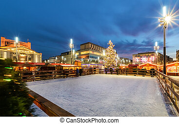 Traditional street market and ice skating rink in Katowice, Poland
