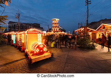 Traditional street market in Katowice Poland in the evening time.