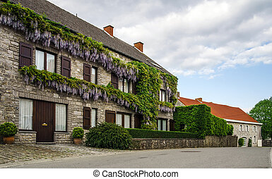 Traditional street view of belgium village. Classical europe...