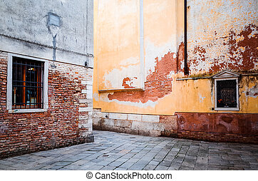 Traditional street view of old buildings in Venice, ITALY