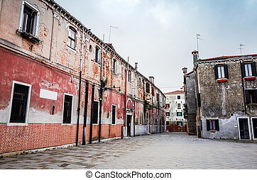 Traditional street view of old buildings in Venice