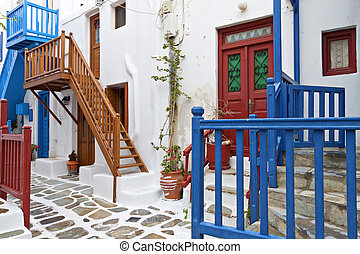 Mykonos island in Greece - Traditional streets of Mykonos...