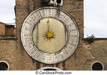Traditional Sundial Clock in Venice, Italy