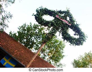 Traditional Swedish Midsummer Pole