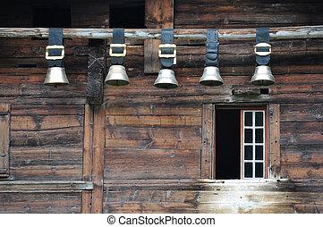 Traditional Swiss cowbells in Jungfrau region