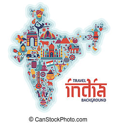 Traditional symbols in the form of a map of India