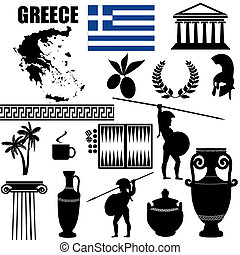 Traditional symbols of Greece on white background, vector ...