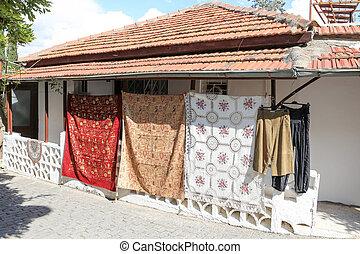 Traditional tablecloths in Alanya Castle, Antalya, Turkey -...