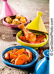 Traditional Tajine Dishes in Colorful Clay Bowls