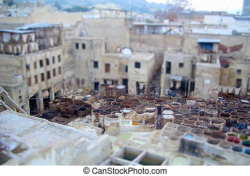 Traditional Tannery District at Fez, Morocco. Tilt-shift effect applied