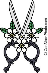 traditional tattoo of a barber scissors and flowers