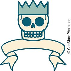 tattoo with banner of a skull and crown