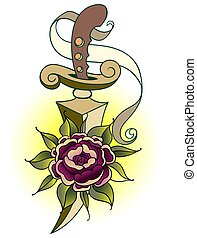 Traditional tattoo with rose flowers and dagger knife. Colorful Tattoo. Vector illustration Old school tattoo line art. Suitable for printing transfer tattoos and stickers
