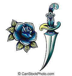 Traditional tattoo with rose flowers and dagger knife. Colorful Tattoo. Vector illustration Old school tattoo line art. Suitable for printing transfer tattoos and stickers back to school