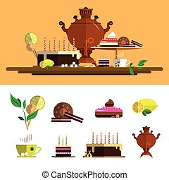 Traditional tea ceremony with samovar. Vector icons set in flat style. Design elements, cup, cake, chocolate, lemon, cookies, sweets.