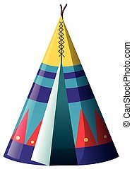 Traditional teepee shelter on white background illustration