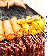 Traditional Thai food at market
