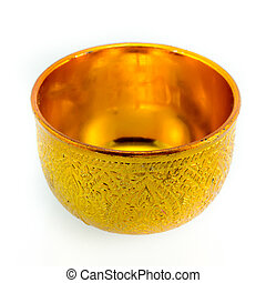 Traditional Thai goldware on isolated white background