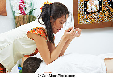 Traditional thai massage health care back kneading