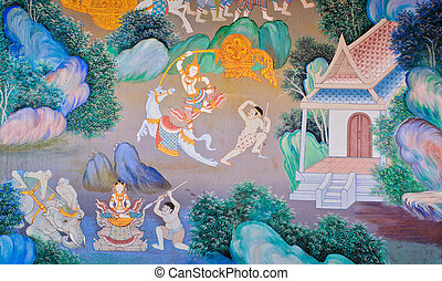 Traditional Thai mural painting