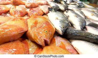Traditional Thai sea food market, with fresh seafood.