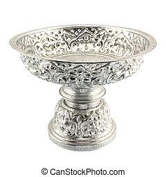 Traditional Thai silverware on white background