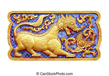Traditional Thai style art of stucco 12 zodiac on the wall in temple, Thailand