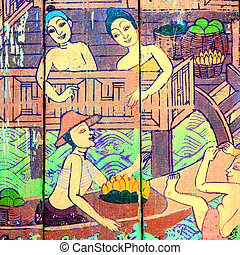 Traditional Thai style art stories of religion