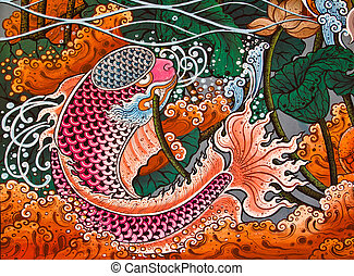 Traditional Thai style painting art in temple, Thailand. ...