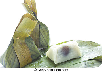 Traditional Thai sweet food, steamed rice dough with sweet cocon