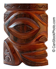 Traditional tiki polynesian sculpture in wood - fetish or protector totem