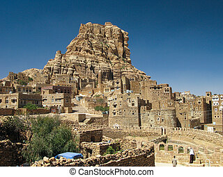 Traditional town of Thula, Yemen - Traditional town of Thula...