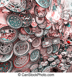 Traditional trading shop with pottery in the old city of Jerusalem, Israel