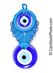 Traditional Turkish amulet Evil Eye or blue eye. Souvenir of Turkey isolated on white background.