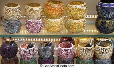 Traditional Turkish ceramics on Istanbul Grand Bazaar in Istanbul.