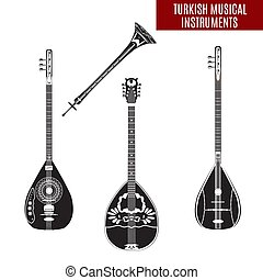 Traditional turkish musical instruments vector set