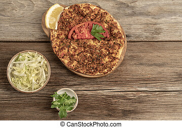 Traditional Turkish pizza that is made of ground beef and onion