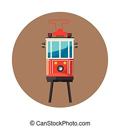 Traditional turkish public tram icon cartoon style