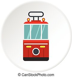 Traditional turkish public tram icon circle