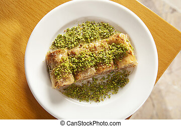 Traditional turkish sweets - Baklava with Pistachio and ...