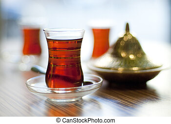 Cup of turkish tea served in traditional style
