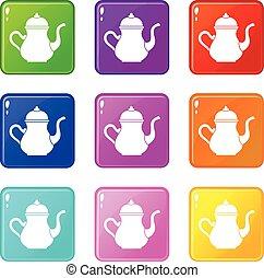 Traditional Turkish teapot icons 9 set