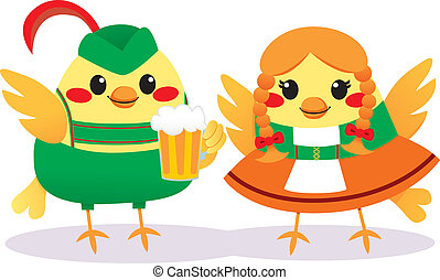 Traditional Tyrolean Birds - Cute bird couple with...
