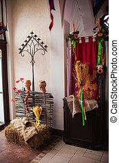 Traditional ukrainian decorations of interiors